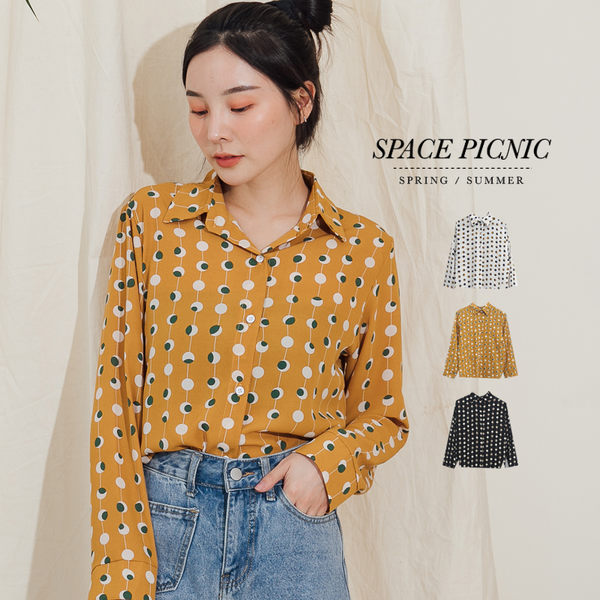 長袖 襯衫 Space Picnic|幾何點點雪紡長袖襯衫(預購)【C19072033】