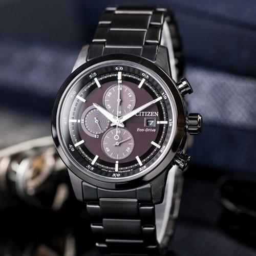 CITIZEN 時尚簡約三眼計時腕錶 黑 43mm 光動能 CA0615-59E 熱賣中!