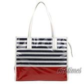 【agnes b.】agnes b. 紅白藍條紋PVC肩背包 AB0C6829
