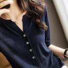 針織短T~針織上衣T恤~中袖羊毛針織衫A1231.TBF19A日韓屋