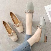{丁果時尚}女鞋35~40►蝴蝶結淺口方頭OL通勤鞋低跟鞋*2色