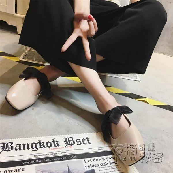 半拖鞋歐美復古方頭外穿懶人鞋平底包頭蝴蝶結拖鞋穆勒鞋涼拖女半拖鞋女 衣橱秘密