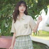 帛卡琪2020新款潮學生字母刺繡襯衫設計感上衣短袖polo衫女襯衣夏