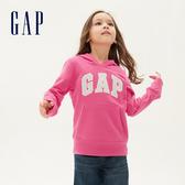 Gap女童 Logo棉質舒適休閒連帽上衣 567746-炫酷玫紅