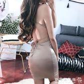 女夜店性感交叉V領顯胸綁帶緊身包臀吊帶露背洋裝 『歐韓流行館』