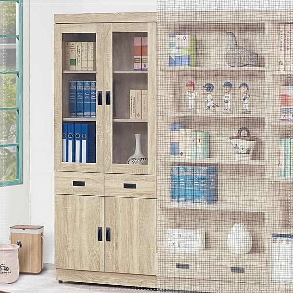 【水晶晶家具/傢俱首選】法蘭克2.6*6.1呎原切橡木正木心板中抽書櫃(左一)SB8226-8