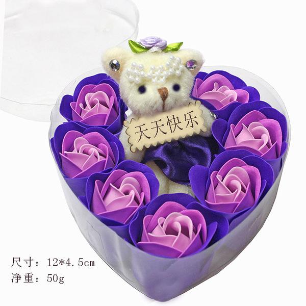 精品7朵香皂花加小熊禮盒仿真玫瑰花實用畢業禮物送老師同學閨蜜(12*4.5CM)─預購CH228