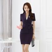 OL套裝(短袖裙裝)-夏季V領修身綁帶女制服3色73mp56【巴黎精品】