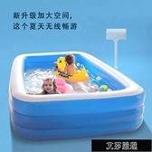 充氣游泳池 超大號兒童充氣加厚游泳池耐磨方形家用室內戶外便攜洗澡池