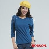 BOBSON 前襟搭配鑽飾上衣(藍色33121-55)