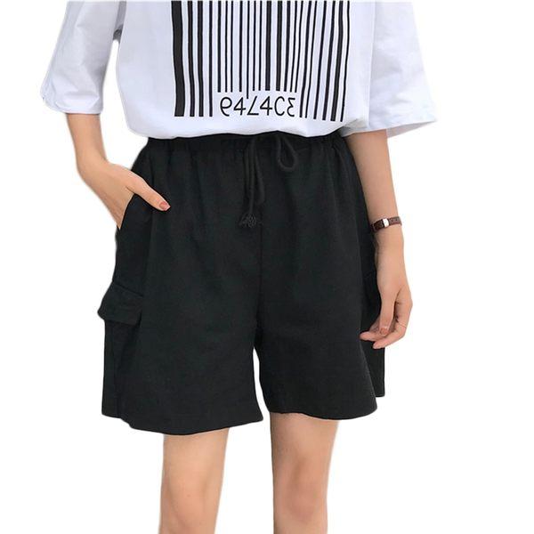 五分褲--原宿男友休閒風造型假口袋鬆緊綁帶褲頭寬鬆短褲(黑.卡其L-3L)-R235眼圈熊中大尺碼◎