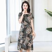 中老年女裝夏季棉麻洋裝中長款大碼中年媽媽裝短袖竹節棉麻裙子 XL-5XL