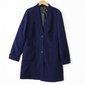 【MASTINA】彈性收腰中長款西裝外套-藍 好康優惠
