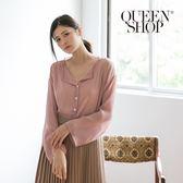 Queen Shop【01140023】素色V領透膚兩件式上衣 兩色售*現+預*
