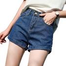 EASON SHOP(GW5766)實拍百搭款水洗丹寧褲腳捲邊收腰牛仔褲女高腰短褲直筒褲休閒褲熱褲A字褲閨蜜裝藍