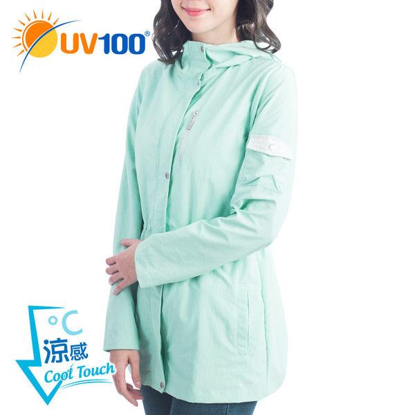 快速出貨 UV100 抗UV-防曬修身長版連帽外套-女