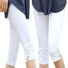 夏季胖MM加大碼高腰女褲白色七分褲女夏顯瘦休閒七分打底褲中褲女 果果輕時尚
