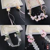 韓式甜美新娘頭飾結婚配飾超仙美森系發飾粉色手工頭花結婚飾品【印象閣樓】