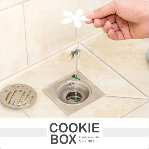 小花 地漏款 管道 疏通器 清除 毛髮 清潔鉤條 清潔鉤 排水孔 水槽 浴室 廚房 工具 衛生 *餅乾盒子*