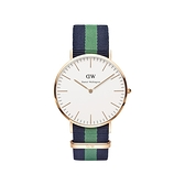 【Daniel Wellington】CLASSIC瑞典時尚品牌經典簡約尼龍腕錶-藍綠x玫金-40mm/DW00100005/原廠兩年保固