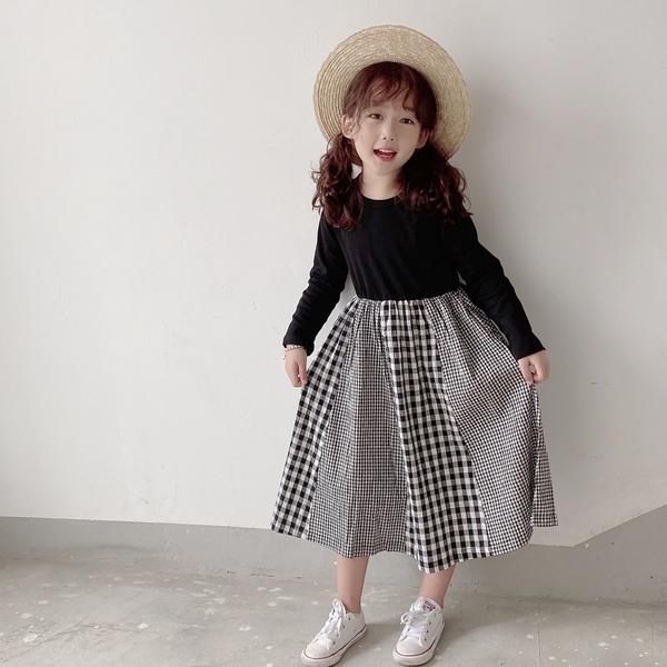拼接格紋口袋連身裙 (小孩賣場) 長袖洋裝 親子裝 母女裝 長袖 連身裙 女童 橘魔法 現貨 兒童 童裝