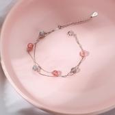 草莓晶月光石雙層手鍊女純銀簡約手串  【新飾界】