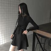 赫本小黑裙2019春秋新款女裝潮港味復古CHIC裙子小心機連衣裙顯瘦