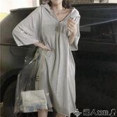 聖誕禮物棉質連身裙夏裝新款韓版學生港味網紅衣服女連身裙寬鬆chic慵懶風裙子潮 潮人女鞋
