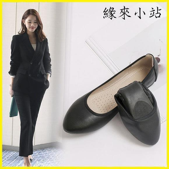 軟底工作鞋女黑色平底上班鞋職皮鞋女