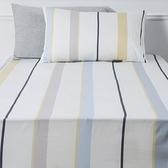 純棉床包枕套組 單人 條紋風格 白色款
