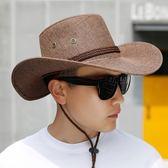 戶外草帽男夏天海邊沙灘帽西部牛仔帽子男士登山太陽帽防曬遮陽帽     9號潮人館