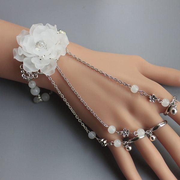 古風飾品一體式手鏈手鐲帶戒子指環