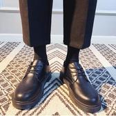 馬丁靴男 中筒靴夏季休閒西裝鞋男商務正裝黑色小皮鞋大頭鞋韓版圓頭馬丁靴潮學生-樂購旗艦店