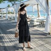 中長款收腰吊帶連身裙女海邊度假夏季新款波點層層蛋糕裙圓點 凱斯頓3C