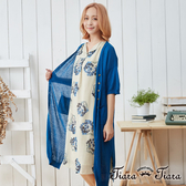 【Tiara Tiara】開襟長版薄透針織罩衫(藍)