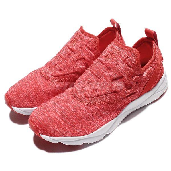 Reebok 休閒慢跑鞋 Furylite Slip-on Jersey 紅 白 武士鞋 Pump 雪花 紋路 復古 女鞋【PUMP306】 AR3049
