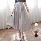 MIUSTAR 雙壓褶鬆緊腰側釦拉鍊隱藏口袋中長裙(共4色,S-L)【NJ0413】預購