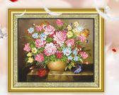 十字繡鑽石畫鑽石繡花草繫列客廳餐廳現代簡約清新掛畫粉色玫瑰  伊莎公主