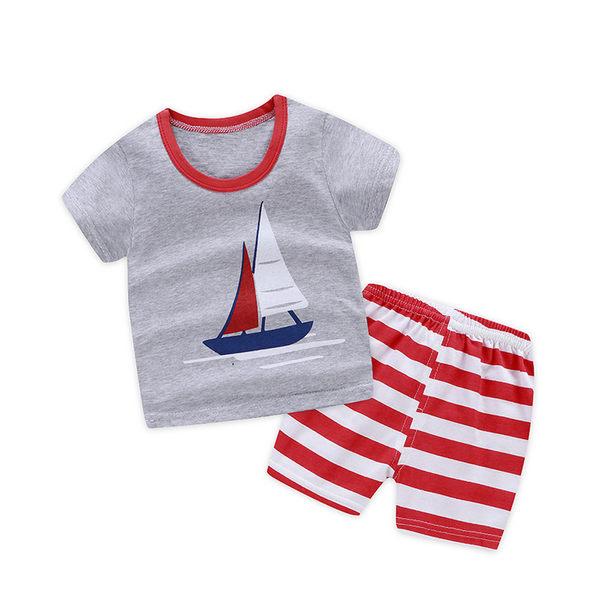 兒童套裝純棉短袖短褲兩件套家居服春夏韓版批發零售 88109