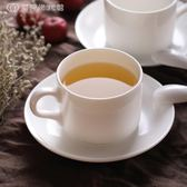 歐式意式陶瓷濃縮咖啡杯碟帶勺 經典簡約白色創意骨瓷茶水杯 【創時代3c館】