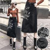 歐洲站 中長款 大碼牛仔半身裙 女時尚春裝 新款 刺繡花朵包臀A字裙