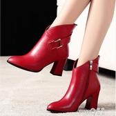 秋冬馬丁靴女粗跟高跟鞋短筒英倫風大東短靴尖頭紅色加絨皮鞋  (pink Q時尚女裝)
