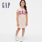 Gap女童 Logo棉質舒適圓領短袖洋裝 540342-燕麥色