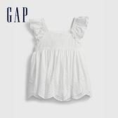 Gap嬰兒 甜美鏤空刺繡上衣 681769-白色