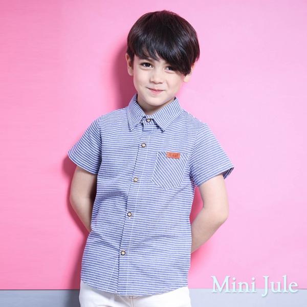 Mini Jule 男童 上衣 條紋單口袋圓弧下擺短袖襯衫(藍 )