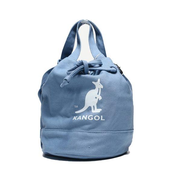 KANGOL 海軍藍 白 圓筒袋 帆布 英國 (布魯克林) 6925300780