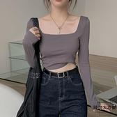長袖T恤修身打底衫緊身短款方領上衣女秋季【時尚大衣櫥】
