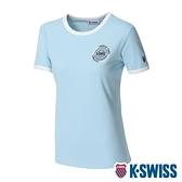 K-SWISS Crew Neck Binding Tee棉質吸排T恤-女-水藍