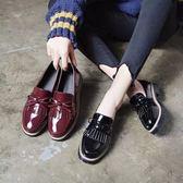 大碼41-43女鞋春秋英倫風流蘇漆皮小皮鞋正韓粗跟學生單鞋娃娃鞋【雙11狂歡8折】