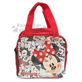 〔小禮堂〕迪士尼 米妮 方型尼龍手提便當袋《紅.摸臉》手提袋 4713549-01849